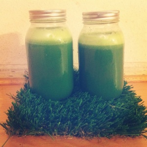 Fool-Proof Green Juice, sealed in air-tight mason jars, which are good refrigerated for up to 48 hours.